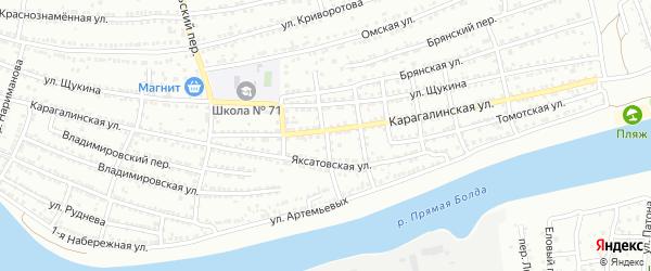 Мукачевский 2-й переулок на карте Астрахани с номерами домов