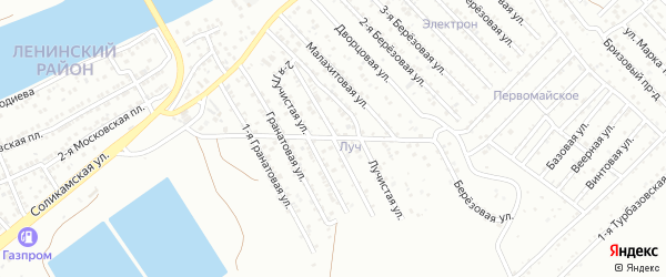 Лучистая 1-я улица на карте Астрахани с номерами домов