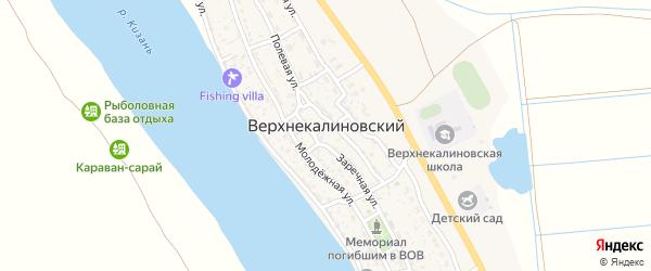 Солнечная улица на карте Верхнекалиновского поселка с номерами домов