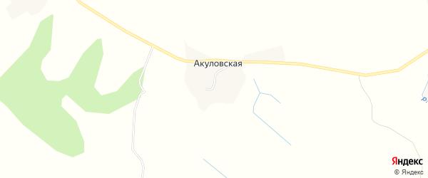 Карта Акуловской деревни в Архангельской области с улицами и номерами домов