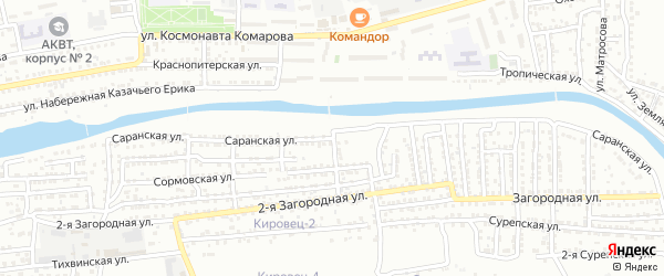 Саранская улица на карте Астрахани с номерами домов
