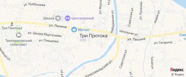 Цветочная улица на карте села Три Протоки с номерами домов