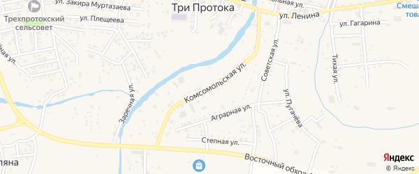 Комсомольская улица на карте села Три Протоки с номерами домов