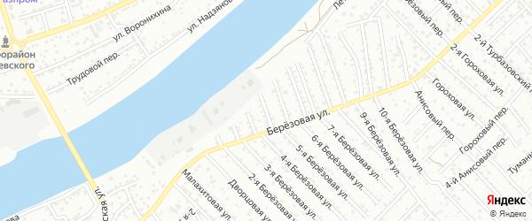 Березовый 3-й переулок на карте Астрахани с номерами домов