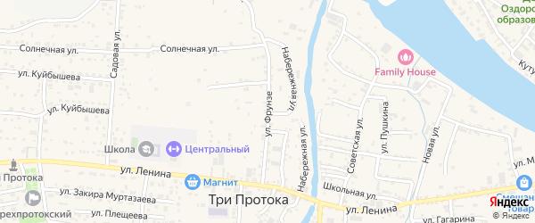 Улица Фрунзе на карте села Три Протоки с номерами домов
