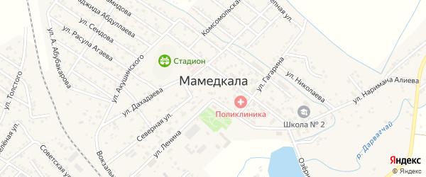 Улица Акушинского на карте поселка Мамедкалы с номерами домов
