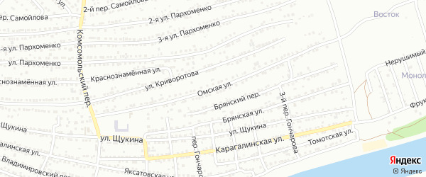 Омская улица на карте Астрахани с номерами домов