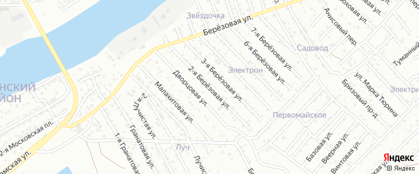 Улица Березовая 2-я 5-й проезд на карте Астрахани с номерами домов