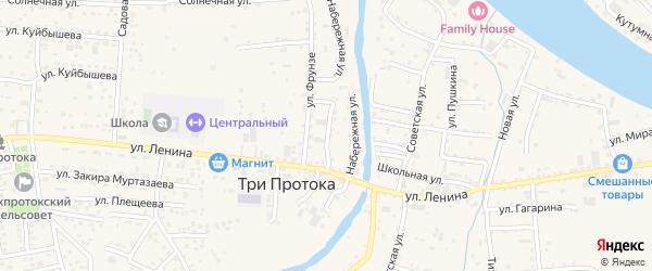 Улица Нариманова на карте села Три Протоки с номерами домов