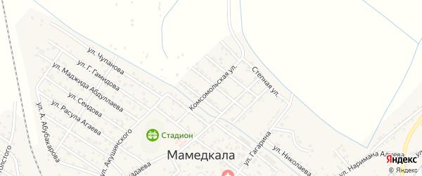 Комсомольская улица на карте поселка Мамедкалы с номерами домов