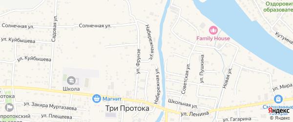 Набережная улица на карте села Три Протоки с номерами домов