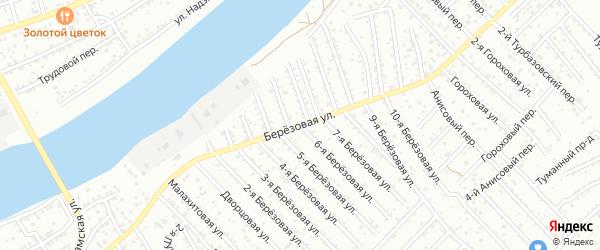 Березовая улица на карте Астрахани с номерами домов