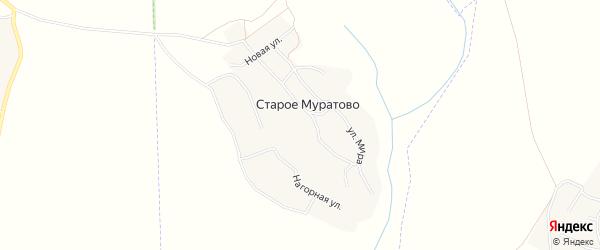 Карта деревни Старого Муратово в Чувашии с улицами и номерами домов