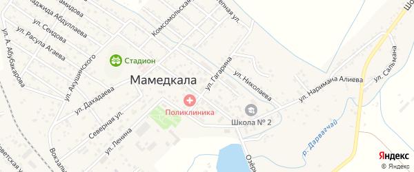 Улица Гагарина на карте поселка Мамедкалы с номерами домов