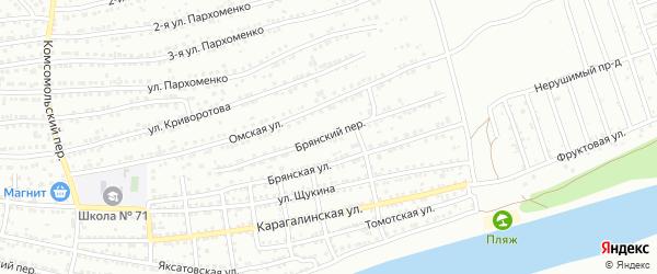 Брянский переулок на карте Астрахани с номерами домов
