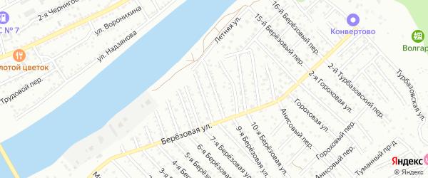 Березовый 8-й переулок на карте Астрахани с номерами домов