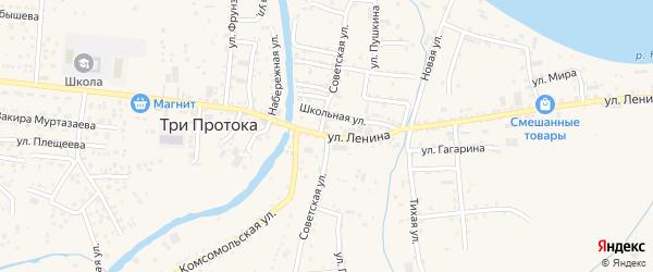 Советская улица на карте села Три Протоки с номерами домов