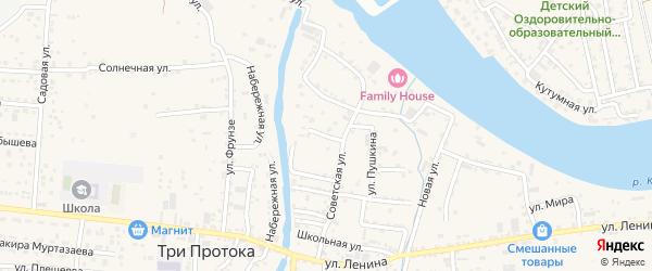 Улица Победы на карте села Три Протоки с номерами домов