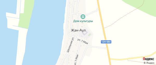 Улица Мира на карте села Жана-Аула с номерами домов