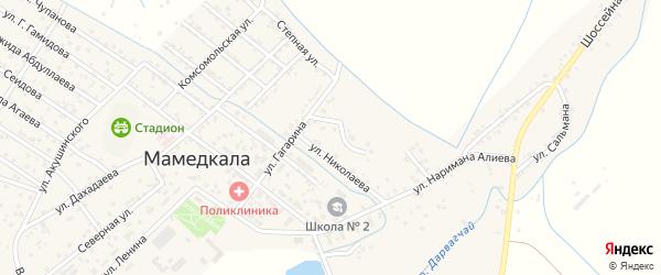 Переулок Буйнакского на карте поселка Мамедкалы с номерами домов