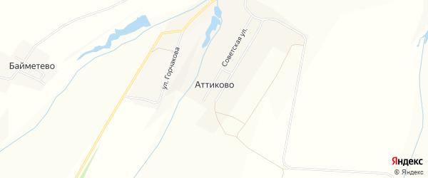 Карта села Аттиково в Чувашии с улицами и номерами домов