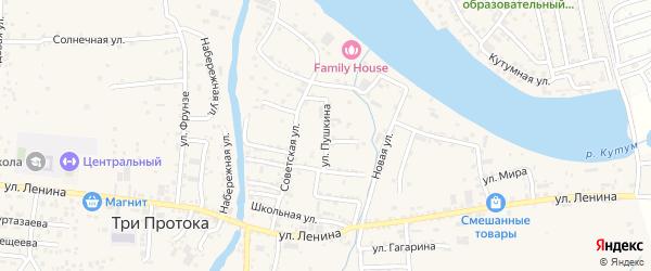 Улица Пушкина на карте села Три Протоки с номерами домов