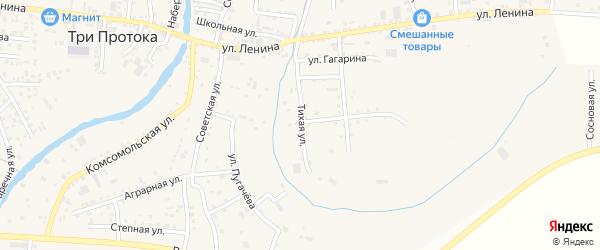 Тихая улица на карте села Три Протоки с номерами домов