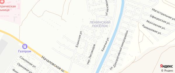 Бакурский переулок на карте Астрахани с номерами домов