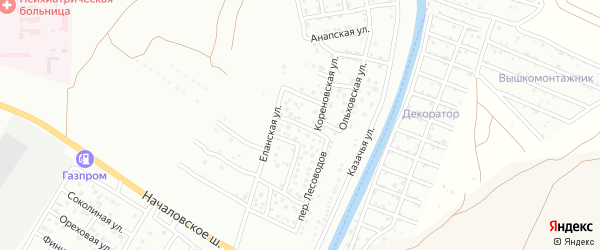 Бакурский 3-й переулок на карте Астрахани с номерами домов