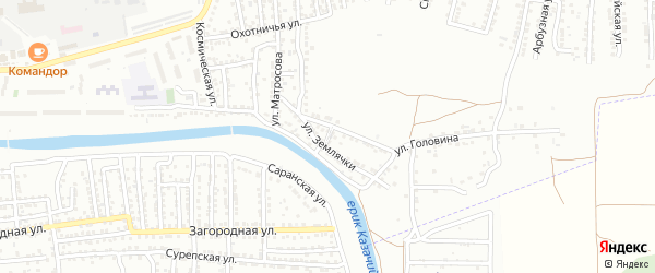Переулок Землячки на карте Астрахани с номерами домов