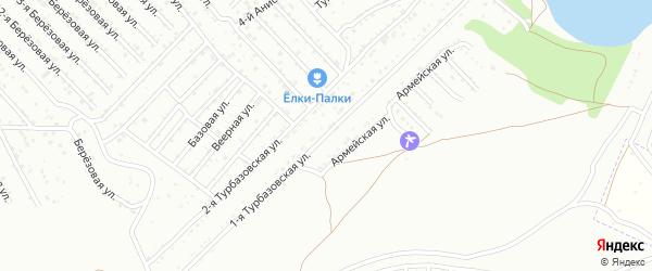 Турбазовская 1-я улица на карте Астрахани с номерами домов