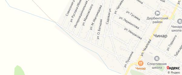 Переулок Батырая на карте села Чинара с номерами домов