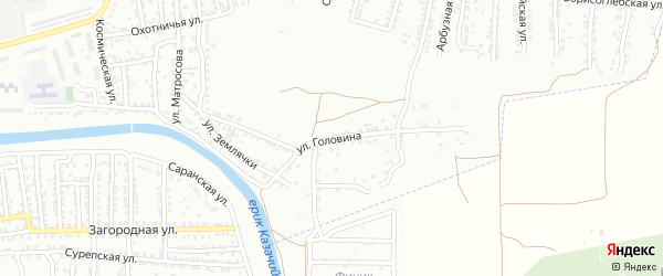 Улица Головина на карте Астрахани с номерами домов