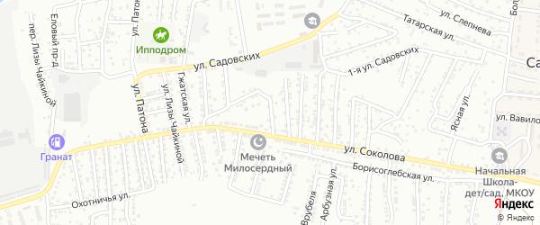 Переулок Соколова на карте Астрахани с номерами домов