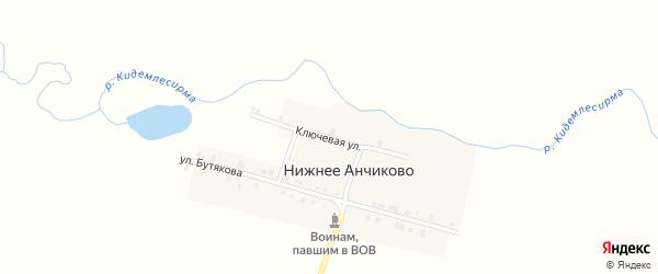 Ключевая улица на карте деревни Нижнее Анчиково с номерами домов