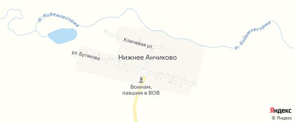 Улица Бутякова на карте деревни Нижнее Анчиково с номерами домов
