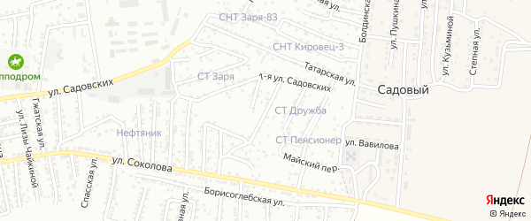 Майский 1-й переулок на карте Астрахани с номерами домов