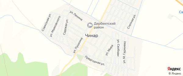 Карта села Чинара в Дагестане с улицами и номерами домов