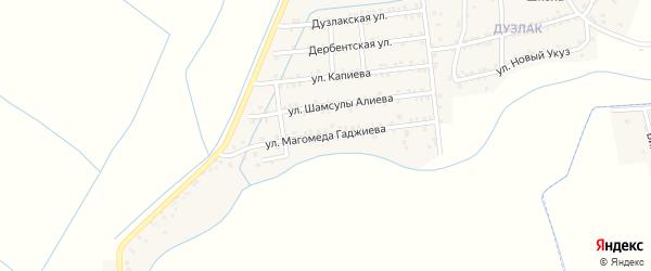 Улица Гаджиева на карте поселка Мамедкалы с номерами домов