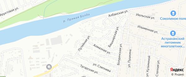 Улица М.Расковой на карте Астрахани с номерами домов