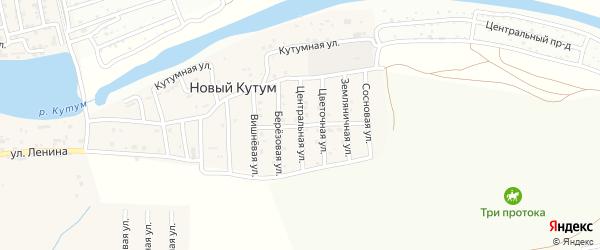 Центральная улица на карте поселка Нового Кутума с номерами домов