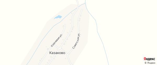 Ключевая улица на карте деревни Казаково с номерами домов