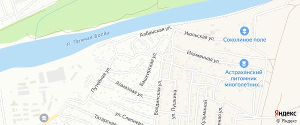 Башкирская улица на карте Астрахани с номерами домов