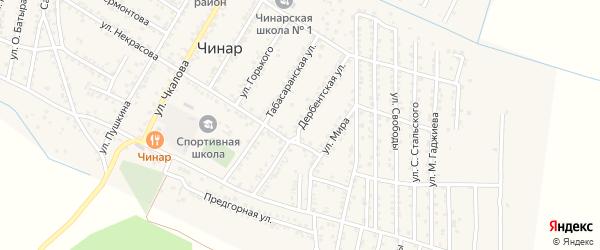 Дербентская улица на карте села Чинара с номерами домов