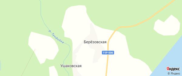 Карта Березовской деревни в Архангельской области с улицами и номерами домов