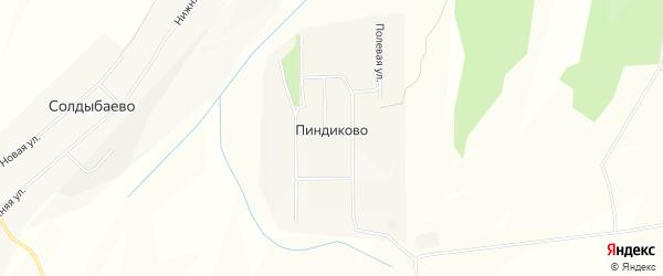 Карта деревни Пиндиково в Чувашии с улицами и номерами домов