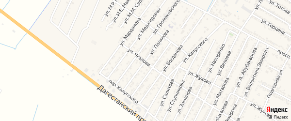 Улица Константина Петровича Полякова на карте Дагестанских огней с номерами домов