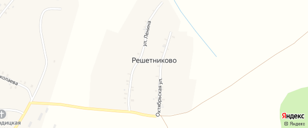 Октябрьская улица на карте деревни Решетниково с номерами домов