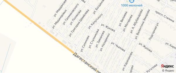 Улица Эседа Бабастановича Салихова на карте Дагестанских огней с номерами домов
