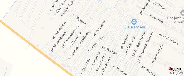 Улица Богданова на карте Дагестанских огней с номерами домов